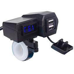 ZYTC 2 in 1 Motorcycle Dual USB Phone Charger & Blue Voltmet