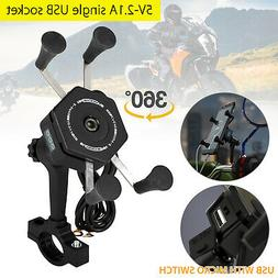 2In1 Motorcycle Bicycle Handlebar Bike Mount Holder Charger