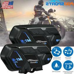 2x M1-S Pro Motorcycle Intercom Bluetooth Helmet Headset Int