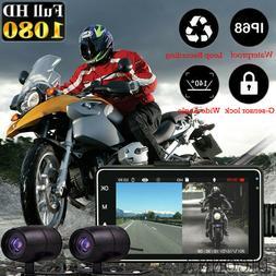 "3"" 1080P HD Dual Camera Motorcycle DVR Dash Cam Driving Reco"