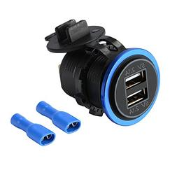 XCSOURCE 5V 4.2A Dual USB Charger Socket Blue LED Power Outl