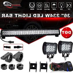 DOT 36Inch 234W LED Light Bar Offroad + 2PCS 4In 36W Cube Po