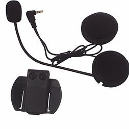 Intercom Microphone & Headset + Helmet Clip, Evary V6 Blueto