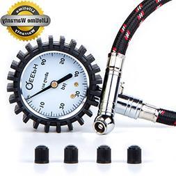 """QEEPH Premium Tire Pressure Gauge Flexi  - Large 2"""" Dial for"""