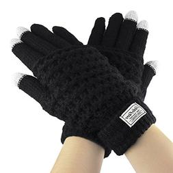 Touch Screen Gloves, Women Girls Boys Winter Thick Wool Knit