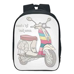 Vogue Pressure Relief Spine Kids School Backpack,Motorcycle,