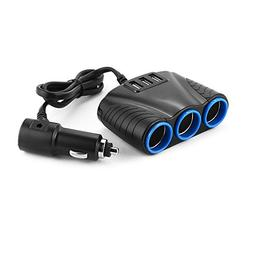 XCSOURCE 12V/24V Car Cigarette Lighter Triple Power Socket S