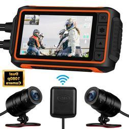 WonVon A10 Waterproof Dual Lens 1080P Motorcycle Wi-Fi GPS D