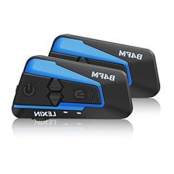 LEXIN 2x B4FM 4 Way BT Interphone Bluetooth Motorcycle Helme