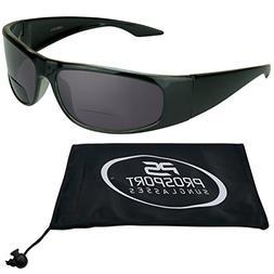 Bifocal Sun Reader Sunglasses for Men and Women. Black Frame