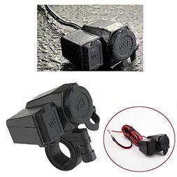 DLLL Black Waterproof 5V 2.1A USB Phone 12V Motorcycle Car G