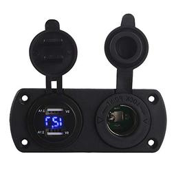 XCSOURCE Car 4.2A Dual USB Charger LED Digital Volmeter Ciga