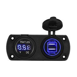 XCSOURCE 12V-24V Car Dual USB Port Charger + Blue LED Displa