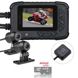 DV688 Motorcycle Dash Cam DVR Video Twin Lens 1080P w/ GPS M