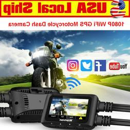 Front + Rear 1080P WiFi GPS IMX323 Motorcycle Dash Cam Camer