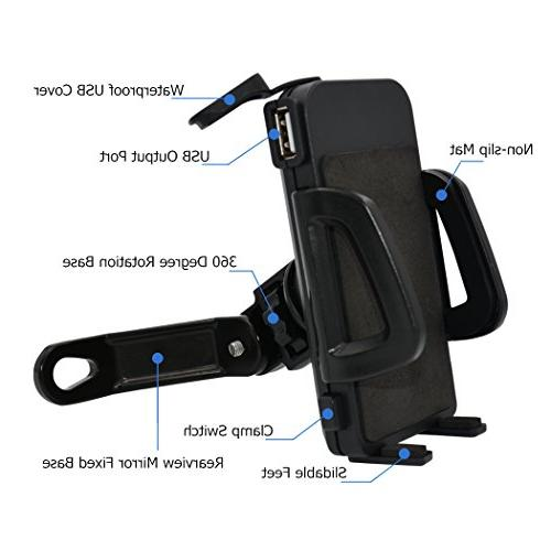 PROCYMD 1 Motorcycle Phone Holder with 5V 2.4Amp USB Charger/Power Power Bands/Rearview