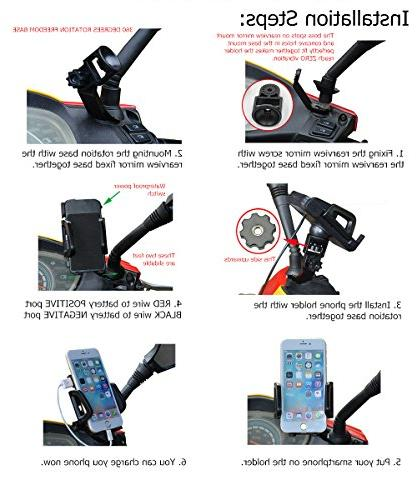 Waterproof 12V Motorcycle Holder 2.4Amp USB Power Mount