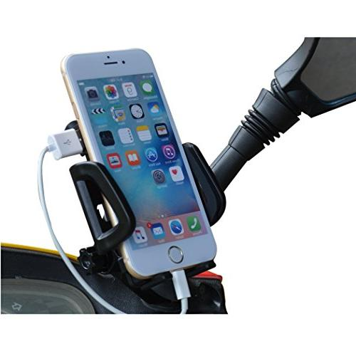 PROCYMD 2 Waterproof Motorcycle Cell Holder with USB Charger/Power Switch/ Power Bands/Rearview Mount
