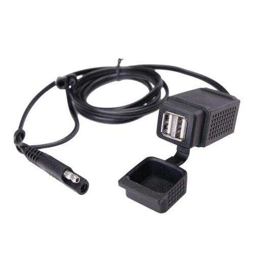 40'' Motorcycle Dual USB Charger SAE Cable Plug 2.1A for GPS