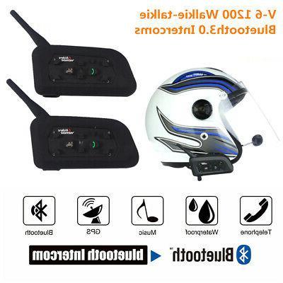 2pcs v6 1200m motorcycle helmet interphone bluetooth