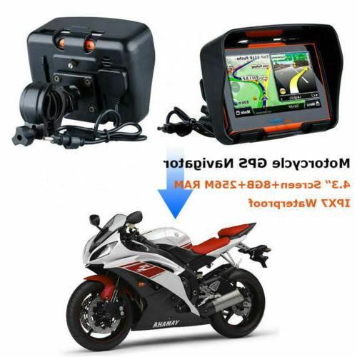"4.3"" Motorcycle Touch Screen Sat Nav 8GB Free Map"