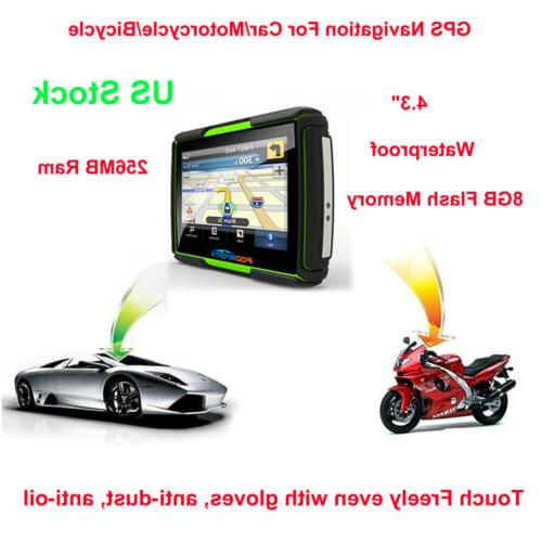 "4.3"" Touch screen waterproof Motorcycle NAV Bluetooth"