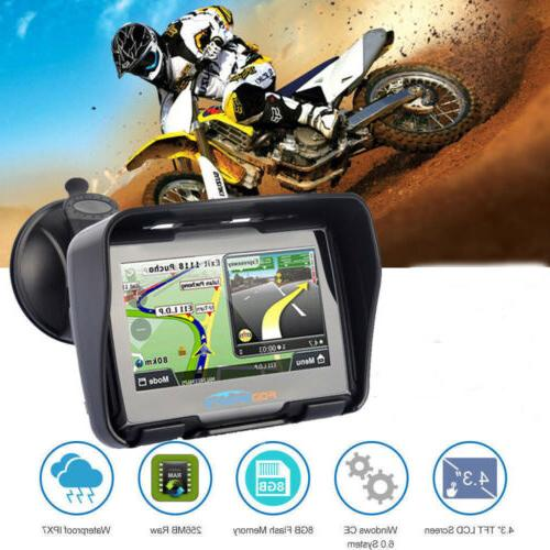 "8GB 4.3"" Navigation Motorcycle Navigator Car SAT US"