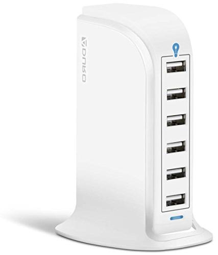 Aduro 40W 8A 6-Port USB Desktop Charging Station Hub Wall Ch