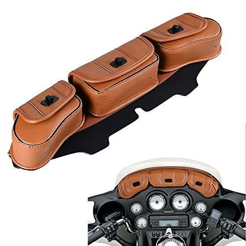 Brown Three-Pocket Fairing Pouch 1996-2013 Harley Street