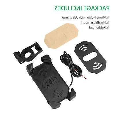 Bike ATV Cell GPS Mount Holder Charger Motorcycle US