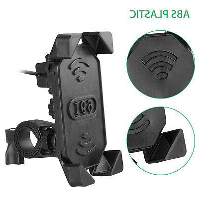 Bike ATV Cell Phone GPS Mount USB Charger For
