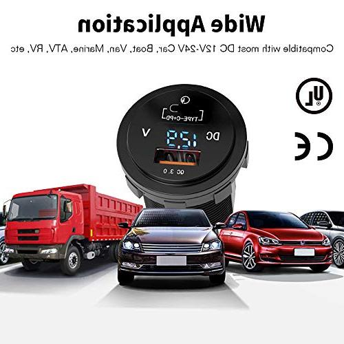 36W Fast USB Car Charger MNJ Motor Typec PD LED Delivery Dual Port Car Boat Marine