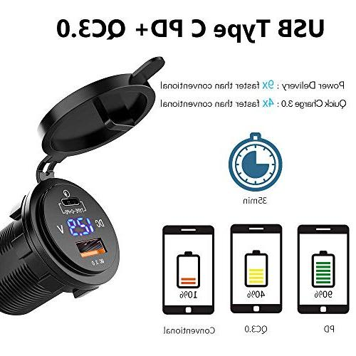 36W Car Charger Motor C PD Socket with LED Voltmeter, Car Boat