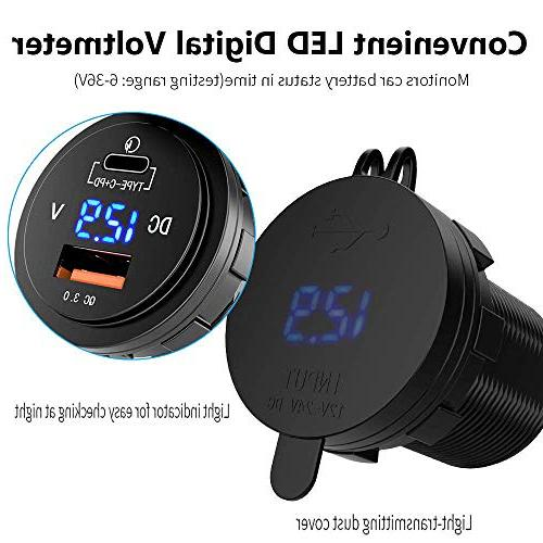 36W USB C Car Charger - Motor C PD Charger Socket LED Voltmeter, Fast Power Delivery Dual for Car Marine