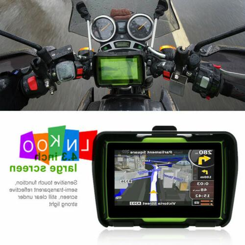 "Motorcycle 4.3"" Bluetooth Car Sat Nav Map Green"