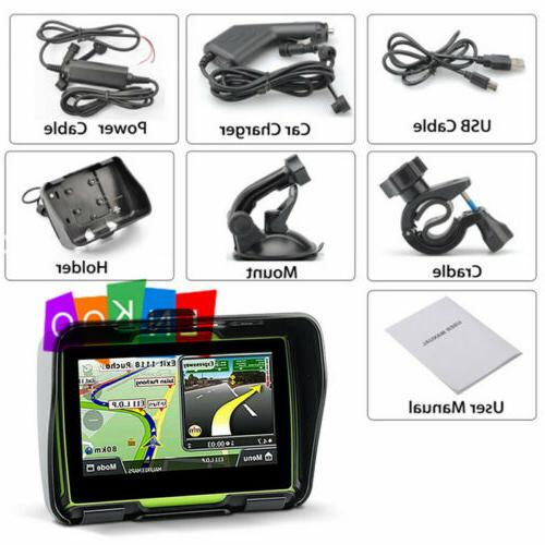 "Motorcycle 4.3"" Screen Bluetooth Navigation Sat Nav Green"