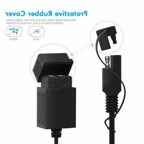 40'' Motorcycle Dual USB Charger SAE Plug 2.1A GPS Adapter