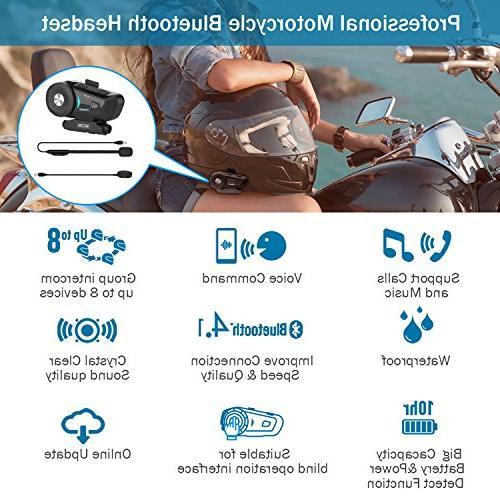 Motorcycle 4.1 Headset S-9 Intercom Kit, Group Voice Headphones for