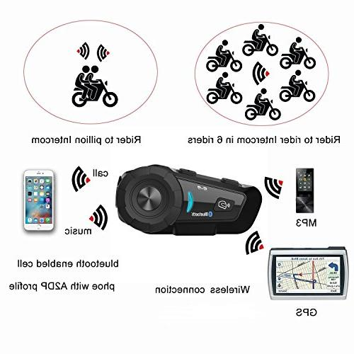 Motorcycle Bluetooth Headset S-9 Kit, Supports Riders Group Voice Command Headphones for Motorbike