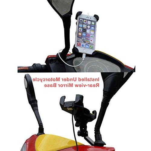 Motorcycle Mount with USB Bike Motorcycle Phone Mount Stand Most Smartphones Clamp,on Handlebar/Mirror