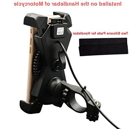 Motorcycle Phone USB Charger Motorcycle Mount Stand for Most Mobile Smartphones Clamp,on