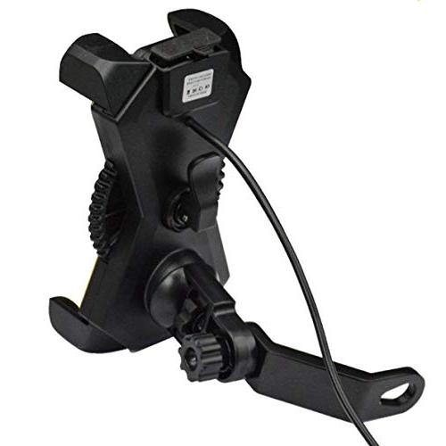 Motorcycle Phone with USB Charger Port,DHYSTAR Bike Motorcycle Phone Mount for Most Mobile Clamp,on Handlebar/Mirror