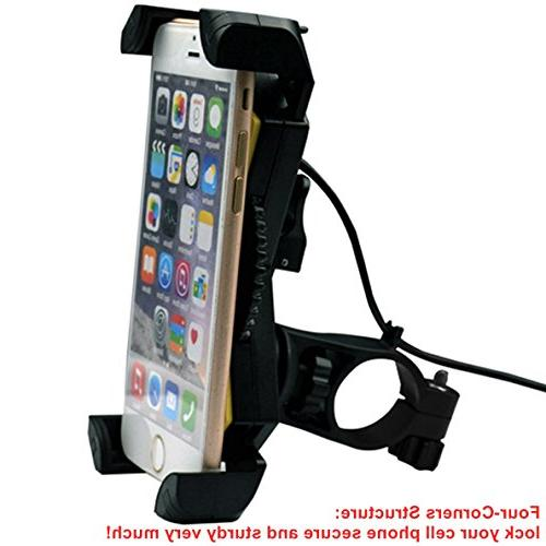 Motorcycle Phone Mount USB Charger Motorcycle Mount Bracket for Most /GPS,Adjustable Clamp,on Handlebar/Mirror