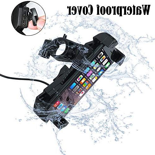 """Motorcycle Phone Mount Charger 5V Port Bar, Phone Holder iPhone X 7 S8 S6 6.5"""" Phone/GPS"""