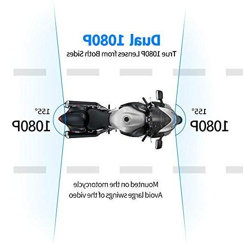 "Motorcycle Camera System by HaloCam, Lens Dash Cam Rear View Camera, Driving Recorder with 2.7"" Degree Angle, 256G"