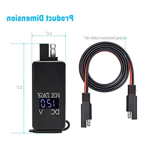 MICTUNING SAE Cable with Blue Voltmeter 4.2A Dual Smart Tablet GPS