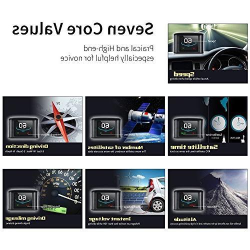 TIMPROVE Car HUD Digital GPS Speedometer Speedup Overspeed Alarm TFT Display for All