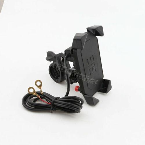 US Motorcycle Bike Cell Phone Mirror Holder Charger