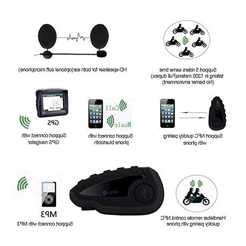 Vnetphone V8 Bluetooth Waterproof Interphone Headset 5 Riders up 1200M Wireless communication Connecting to MP3/GPS FM