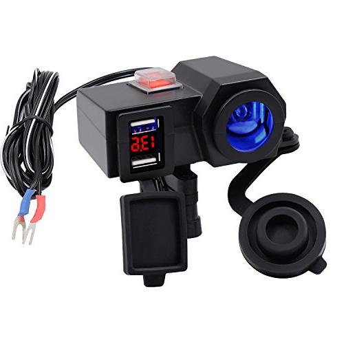 BlueFire USB Charger Socket Motorcycle Handlebar Clamp Power Adapter Charger USB with and Voltmeter